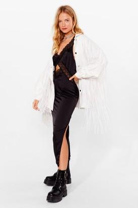 Nasty Gal Womens In It to Fringe It Oversized Denim Jacket - Cream - 6
