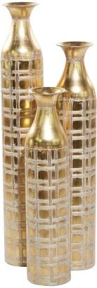 Willow Row Gold Metal Glam Vase - Set of 3
