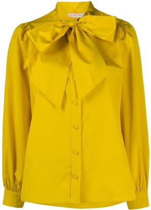 Tory Burch Pussy Bow Crepe De Chine Blouse