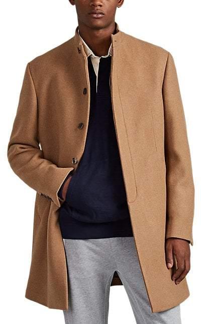 Barneys New York Men's Double-Faced Wool-Blend Slim Overcoat - Camel