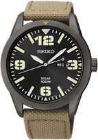 Seiko Mens Brown Nylon Strap Solar Watch SNE331