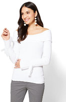 New York & Co. 7th Avenue - Flounced-Sleeve Off-The-Shoulder Sweater