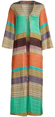 Missoni Mare Long-Sleeve Open-Front Chevron Cover-Up