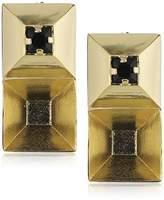 Wouters & Hendrix Women's Yellow Gold Plated 925 Sterling Silver Swarovski Black Studded Earrings