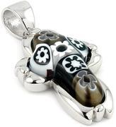 Sterling Silver Black Millefiori Bead Accented Cross Pendant by Alan K