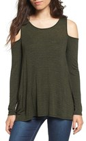 Lush Women's Stripe Cold Shoulder Top