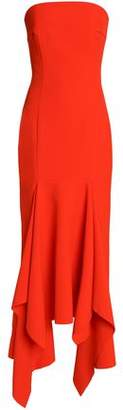 SOLACE London Strapless Asymmetric Ruffled Crepe Gown