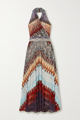 Missoni Metallic Crochet-knit Halterneck Midi Dress - Purple