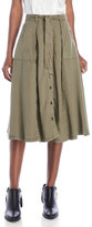 Patrizia Pepe Olive Green Button Midi Skirt