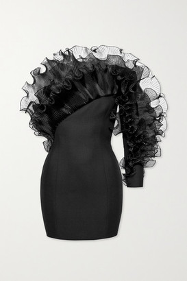 Alexandre Vauthier One-sleeve Ruffled Organza-trimmed Wool-crepe Mini Dress - Black