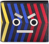 Fendi Leather Striped Face Wallet, Multi