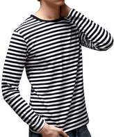 Tina Silvergray Men's Long Sleeve Crew Neck Cotton Stripe Tee Shirt