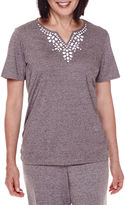 Alfred Dunner Acadia Short-Sleeve Beaded-Yoke Top