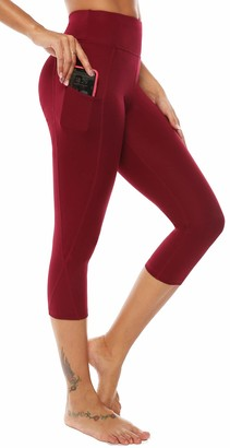 Equipment AOOM Women Yoga Pants Side Pockets Slim Fit Stretchy Capris Workout Leggings (Wine Red S)