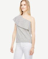 Ann Taylor Deep Ruffle One Shoulder Striped Top