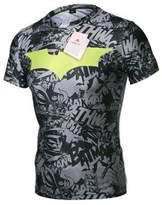 Generic Men's Iron Man Short Sleeve Crewneck Compression Super Heroes T-shirt Wicking Tee (, Black(TXGX02))