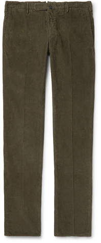 Incotex Slim-fit Garment-dyed Stretch-cotton Corduroy Trousers - Green