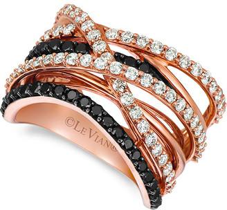 LeVian Le Vian Exotics 14K Rose Gold 1.56 Ct. Tw. Black & White Diamond Ring
