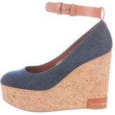 Sergio Rossi Denim Platform Wedges