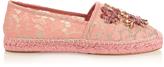 Dolce & Gabbana Crystal-embellished lace espadrilles