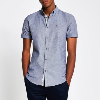Mens River Island Maison Riviera Grey short sleeve shirt
