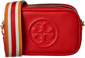 Tory Burch Perry Bombe Printed Strap Mini Leather Crossbody
