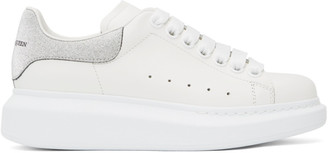 Alexander McQueen SSENSE Exclusive White and Silver Glitter Suede Tab Oversized Sneakers