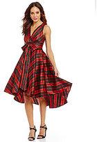 Eva Franco Libby Titan Plaid-Print Hi-Low Dress