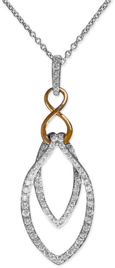 Effy Diamond Double Drop Pendant (1/4 ct. t.w.) in 14k White Gold and 14k Rose Gold