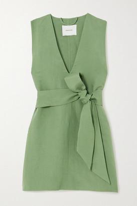BONDI BORN Net Sustain X Lg Electronics Belted Linen Mini Dress - Sage green
