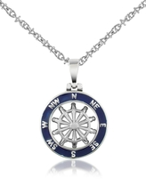 Forzieri Stainless Steel Cutout Rudder Pendant Necklace