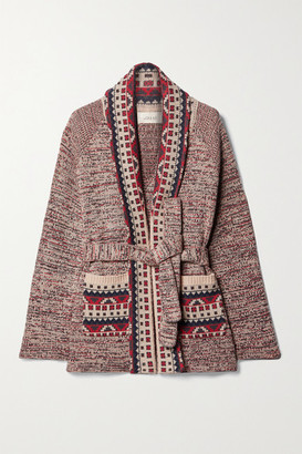 The Great The Riding Belted Cotton-blend Intarsia Cardigan - Red