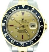 Rolex 16713 2tone 18k Yellow Gold/Stainless Steel GMT-Master II Diamond & Ruby Watch