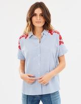Maison Scotch Boxy Fit Button-Up Shirt with Embroidered Yoke