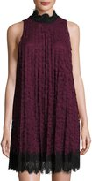 Max Studio High-Neck Pleated Lace Dress, Red/Black