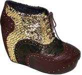Irregular Choice Brown & Gold What an Angel Leather Wedge Bootie
