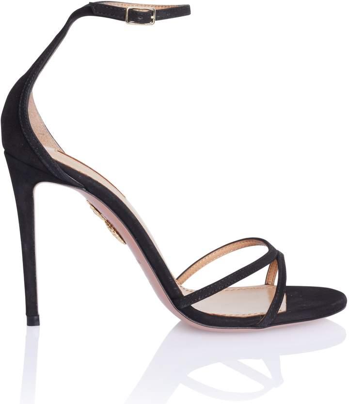 Aquazzura Purist Sandal in Black Suede