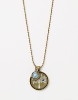 Blue Bird in Tree Pendant with Blue Bird Mini Charm Necklace