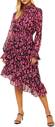 MISA Lupita Long-Sleeve Asymmetric Midi Dress