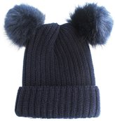 NYFASHION101 Double Faux Fur Pom Pom Cable Knit Cuff Beanie Hat
