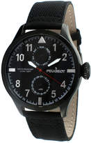 Peugeot Mens Black Strap Aviator Watch 2044BK