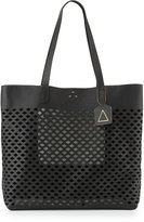Kelsi Dagger Commuter Laser-Cut Leather Tote Bag, Black