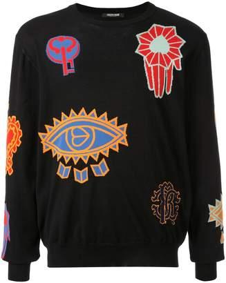 Roberto Cavalli Colour-Block Embroidered Sweater