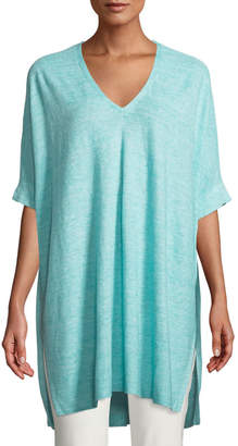 Eileen Fisher Organic-Linen Melange V-Neck Easy Tunic