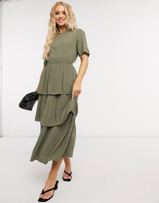 Only Lena layered midi dress in khaki