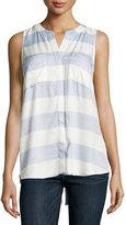 Neiman Marcus Sleeveless Striped Flyaway Blouse, Blue/White