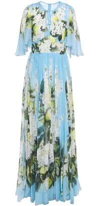 Dolce & Gabbana Gathered Floral-print Silk-voile Gown