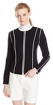 Calvin Klein Women's Zip-Front Jacket With Piping Trim