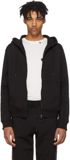 Off-White Off White Black Striped Zip Hoodie