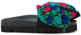 Joshua Sanders floral bow pool slides